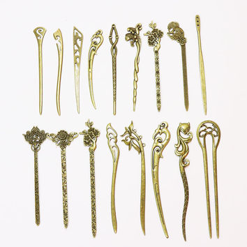 New Bronze Vintage Hair Sticks 17 Styles Headbands For Women Elegance Lady Hairpins Fashion Alloy Hair Clip Hair Accessories