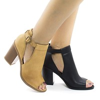 Quality By Soda, Peep Toe Ankle Buckle Strap Slit Stacked Heeled Sandals