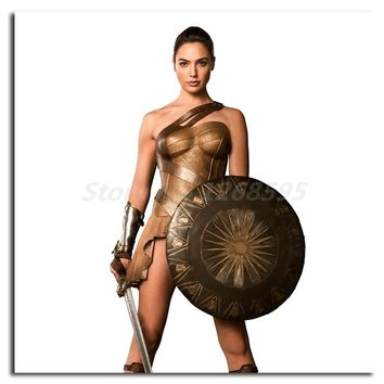 Marvel Superhero Wonder Woman Shield Sword HD Painting Living Room Wall Art Print On Canvas Decorative Picture Home Decoration