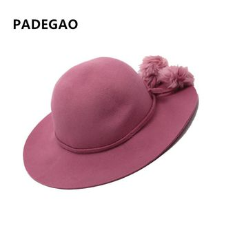 Wide Brim 100% Wool Felt Fedora In Winter Ladies Royal Pink popm  Elegant Women Bowler Floppy Cloche Church Hats