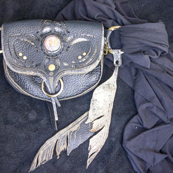 "Phoenix Leather ""Stash Sash"" - crystal bag - hip bag - fanny pack - festival belt - pocket belt - utility belt - money belt - passport"
