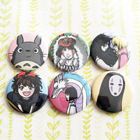 Studio Ghibli fantasy anime movie pinback buttons