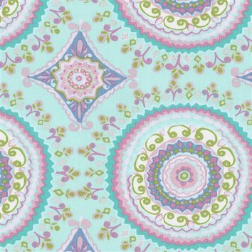 Aqua Haute Circles Fabric by the Yard