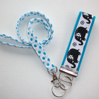 Lanyard and Elephant Key fob Keychain Set - blue dots black elephants  - teacher gift, coworker gift, gift for her, under 20