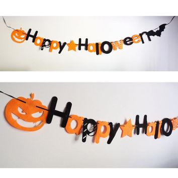 Mayitr 1pc Happy Halloween Banner Non-woven Hanging Halloween Garland Pumpkin Letter Pennant Flag for Home Bar Party Decoration