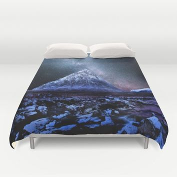 Milky Way Mountain Duvet Cover by 2sweet4words Designs