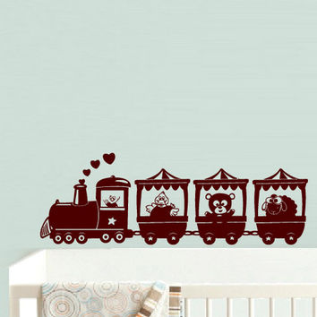 rvz535 Wall Decal Vinyl Sticker Decal Nursery Kids Baby Train Animals Beautiful Z535