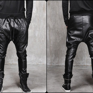 Biker Drop Crotch Dark Quilted Faux Leather Harem Pants  / Streetwear / Loose Dark Black Shadow