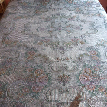 Big Antique Italian bedspread throw coverlet bed spread, silver satin woven throw w angels cherubs putti roses ribbons bed linens w fringes