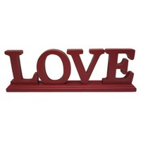 "Wood ""Love"" Decoration - Red"