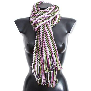 Missoni Multicolor Zig Zag Pattern Wool Scarf