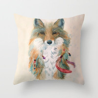 Feather Fox Throw Pillow by Christy Clifford