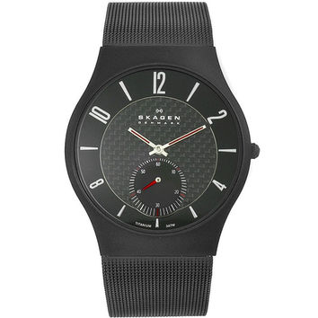 Skagen 805XLTBB1 Men's Denmark Quartz Mesh Bracelet Black Titanium Watch