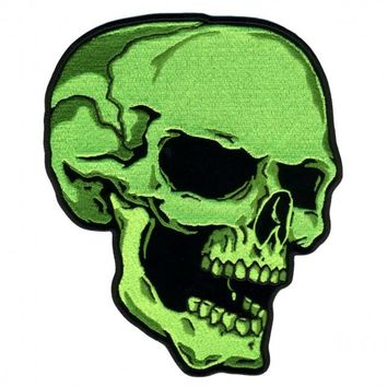 "Green Skull Right, High Thread Embroidered Iron-on / Saw-on Rayon PATCH - 3"" X 4"""