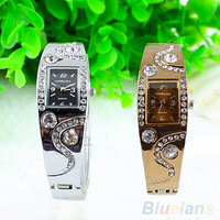 New Hot Fashion Women Bracelet Bangle Wave Rhinestone Crystal Wrist Watches = 1956383236