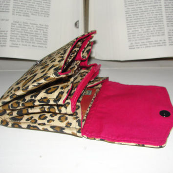 Mini Necessary Clutch Wallet, RTS, Great Handmade Gift, Leopard print fabric and hot pink lining, Credit Cards, iPhone, NCW