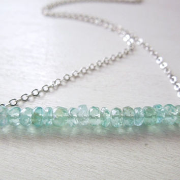 Blue Apatite Rondelle Bar Necklace - Natural Light Blue Stone Pendant Necklace Delicate Silver Chain no.5