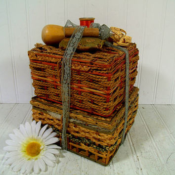 Old Wicker Baskets Set of 2 with Sewing Notions Display - Vintage Primitive Crafts Decor Collection Rustic Artisan Boxes of Supplies & Tools