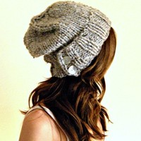 knit slouch hat in gray marble chunky knit winter hat