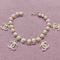 Chanel Popular Women Pearl Logo Golden Bracelet + Best Gift