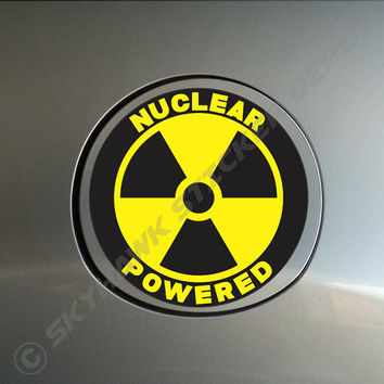 Nuclear Powered Bumper Sticker Vinyl Decal Funny Nuke Power Car Truck Van SUV Gas Cap Sticker Macbook Pro Air Laptop Sticker Skin