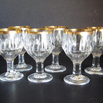 Vintage Cordials, Gold Rimmed, Italian Crystal Cordials, J Preziosi Lavoratoa Mano, Crystal Cordials, Holiday Table