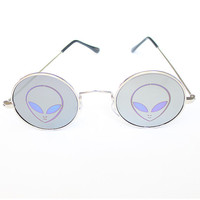 Alien Holographic Mirror Lennon Sunglasses eyewear  90s nineties Sunnies Silver