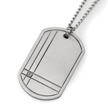White Diamond Dog Tag Pendant Necklace in Titanium - Lobster Claw