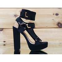 "Bella Luna Black 5.5"" Chunky High Heel Harness Strap Shoe US Sizes 7-11"