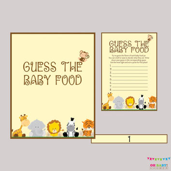 Safari Baby Shower Game Baby Food Game - Guess the Baby Food Game - Printable Instant Download - Safari Baby Food Game - BS0001-N