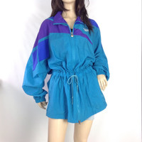 80s Reebok Nylon Jacket Fresh Prince Teal Purple Wind Breaker Unisex Athletic Track Jacket Oversized Mesh Vented Back extra large XL