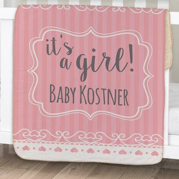 Personalized Its A... Baby Sherpa Blanket