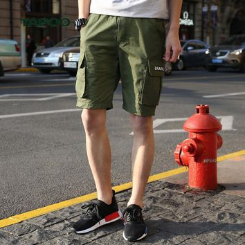 Mens cargo shorts knee length loose cotton mens short mid waist boardshort men elastic waist