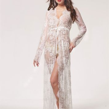 Summer Sexy Lace Night Dress Babydoll Lingerie Nighty Women Nightwear Off White Maxi Lace Robe Femme Ete Camisola Nightgown
