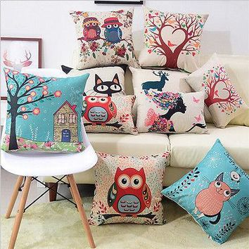 40*40cm Girl Cat Linen Cotton Throw Pillow Case Sofa  Cushion Cover Home Decor Home Textile