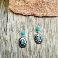 Turquoise Concho Dangle Earrings