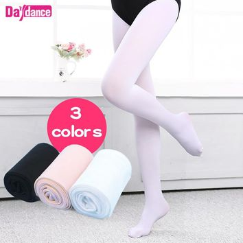 Girls Women Footed Ballet Tights Microfiber Velvet White Black Pink Ballet Dance Stockings Pantyhose With Gusset