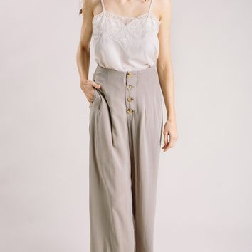 Alexa Button Front Wide Leg Pants