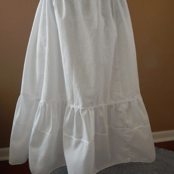 All White cotton Muslin A-line Petticoat w/ lace hippie skirt, prairie skirt,boho, maxi skirt underskirt, crinoline up to plus size