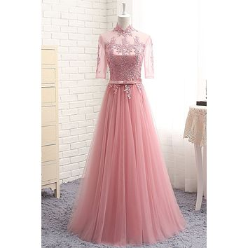 Many Colors Half Sleeve Tulle Lace High Neck Formal Evening Dresses Long Party Evening Gown Elegant robe de soiree BT181