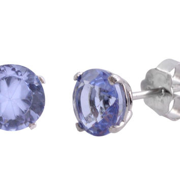 Round Lavender CZ Stud Earrings Sterling Silver BASKET