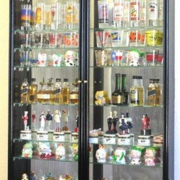 XL Shot Glass Display Case Rack Holder Cabinet w/ Mirror Backed and 11 Glass Shelves -Black
