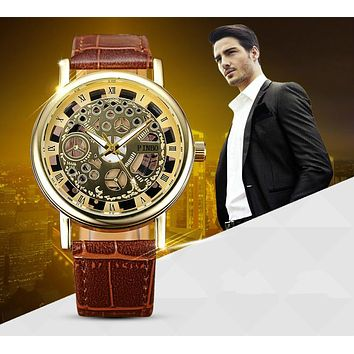 2017 PINBO Skeleton Watch Men Top Brand Luxury Famous Gold Male Clock Quartz Watch Wrist For Men Quartz-Watch relogio masculino