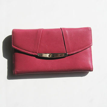 Vintage Hot Pink Danier Leather Ladies Wallet / Vintage Leather Womens Wallet