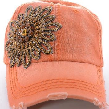 Orange Bling Distressed Baseball Cap