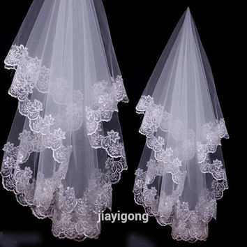 2016 New Lady Wedding Mantilla Cathedral Bridal Veil Embroidered Lace Edge Long Train Free&Drop Shipping hot sales