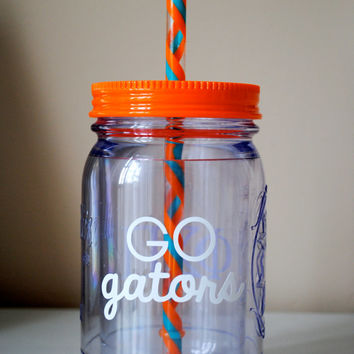 Monogram Mason Jar Cup With Straw / Available In Many Colors