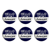 Junior Hello My Name Is Plastic Resin Button Set of 6