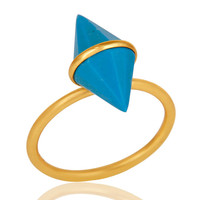 18K Gold Plated Sterling Silver Turquoise Spike Ring Statement Ring