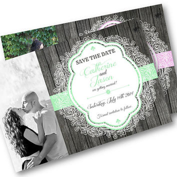 Rustic Wood and Lace Photo Save the Date Card wedding invitation invites are printable picture  mint pink peach lavendar yellow coral pick